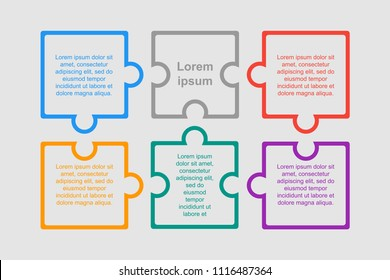 Puzzle Six Pieces Business Presentation. Square Infographics. 6 Steps Process Diagram Card. Section Banner. Rectangle Puzzle Pieces. Puzzle Infographics.