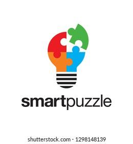 puzzle smart think mind lightbulb logo design template