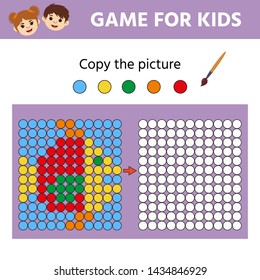 Puzzle task, education logic game for preschool kids. Paint the circles. Color by example. Drawing printable activity, learning symmetry for toddlers