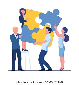Puzzle team concept. Business person teamwork for success. Vector