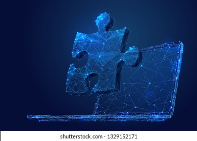 Puzzle. Teamwork. Network concept on laptop screen. Vector low poly wireframe in the form of starry sky, consisting of points, lines, and shapes in the form of stars. Vector networking concept.