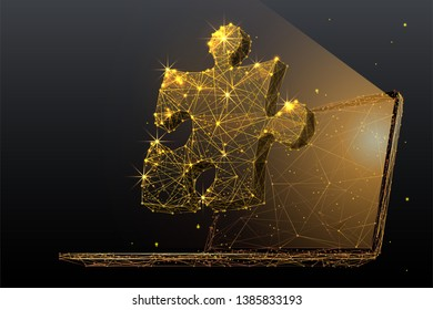 Puzzle. Teamwork. Network concept on laptop screen. Vector low poly wireframe in the form of gold starry sky, consisting of points, lines, and shapes in the form of stars. Vector networking concept.