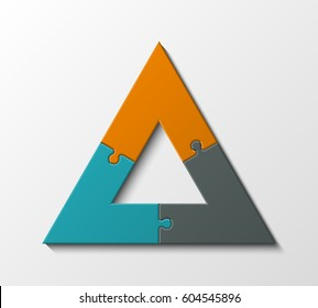Puzzle three piece business presentation. Triangle pattern infograph. Circle 3 Step process diagram, pyramid card. Delta Section compare service banner. Abstract Background
