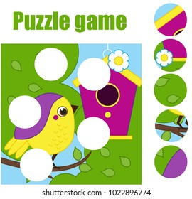 Puzzle for toddlers. Matching children educational game. Match pieces and complete the picture. Activity for pre school years kids. Bird with birdhouse. Animals theme