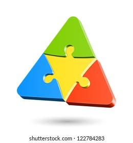 Puzzle triangle. Vector.