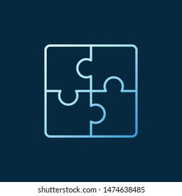 Puzzle vector concept blue icon or logo in outline style on dark background