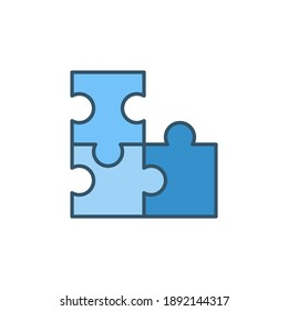 Puzzle vector strategy concept colored blue icon or symbol