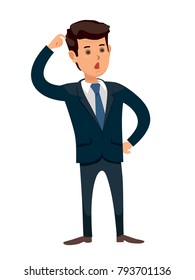 Puzzled businessman scratching his head. thinking deeply about something. Confused. Frustrated, disappointed business man. Cartoon character. Stock vector illustration in flat design.