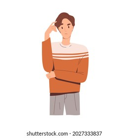 Puzzled pensive man thinking and scratching his head with finger, finding solutions. Thoughtful questioned worried person pondering and doubting. Flat vector illustration isolated on white background