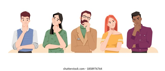 Puzzled people wondering or thinking, planning or pondering. Men and women full of thoughts, holding hand by chin. Confused males and females isolated. Cartoon character, vector in flat style