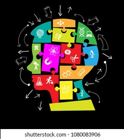 Puzzles in the form of a man's head. Concept of education. Complete The Person