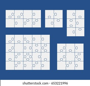 Puzzles on blue background. Set of puzzle 4, 6, 8, 9, 20 pieces. Vector illustration