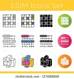 Puzzles and riddles icons set. Number placement, hidden word search, construction puzzle. Logic games. Brain teaser. Flat design, linear, black and color styles. Isolated vector illustrations