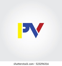 PV flat initial letter logo combining yellow, blue and red