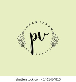 PV Initial beauty floral logo template