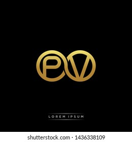 PV initial letter linked circle capital monogram logo modern template