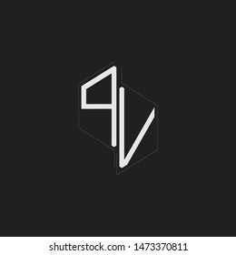PV Initial Letters logo monogram with up to down style isolated on black background