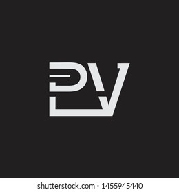 PV initial logo Capital Letters black background