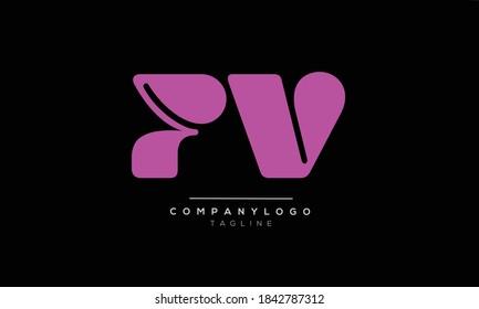 PV initials monogram letter text alphabet logo design