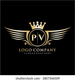 PV Letter Initial with Royal Wing Logo Template.