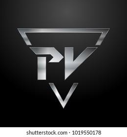 PV Logo, Metal Logo, Silver Logo, Monogram, Polygon