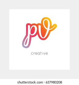 PV logo, vector. Useful as branding, app icon, alphabet combination, clip-art.