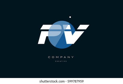 pv p v  blue circle dot big font alphabet company letter logo white design vector icon template