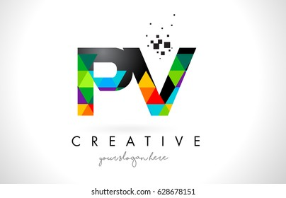 PV P V Letter Logo with Colorful Vivid Triangles Texture Design Vector Illustration.