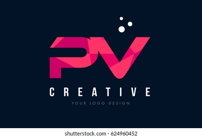 PV P V Purple Letter Logo Design with Low Poly Pink Triangles Concept
