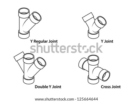 Pvc Pipe Fittings Selection Y Joints Stock Vector Royalty Free