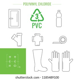 PVC - polyvinyl chloride. Symbol of plastic recycling and types of plastic products.