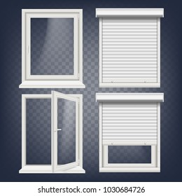 PVC Window Vector. Rolling Shutters. Opened And Closed. Front View. Open Plastic Glass Window. Isolated On Transparent Background Realistic Illustration