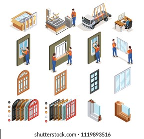 Pvc windows production isometric icons with workers during design manufacturing transportation and installation isolated vector illustration