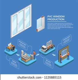 Pvc windows stages of production from design till installation isometric composition on blue background vector illustration
