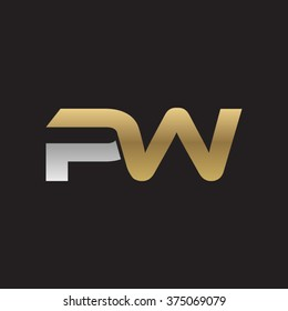 PW company linked letter logo golden silver black background