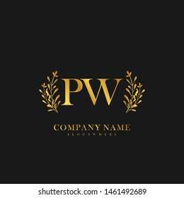 PW Initial beauty floral logo template