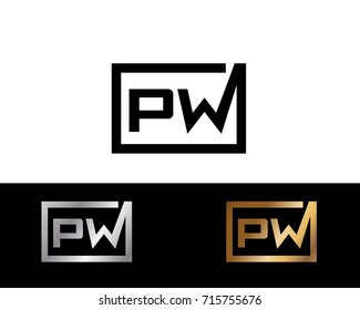 PW initial box shape Logo designs template
