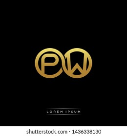 PW initial letter linked circle capital monogram logo modern template