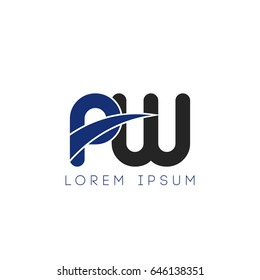 pw initial letter uppercase logo blue and black