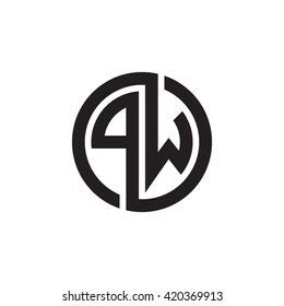 PW initial letters looping linked circle monogram logo