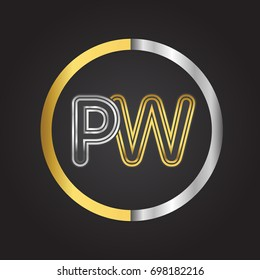 PW Letter logo in a circle. gold and silver colored. Vector design template elements for your business or company identity.