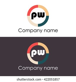 PW letters business logo icon design template.
