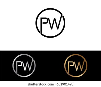 Pw Logo. Letter Design Vector with Red and Black Gold Silver Colors