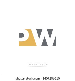 PW Logo Letter with Modern Negative space - Brown and Grey Color EPS 10