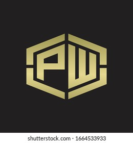 PW Logo monogram with hexagon shape and piece line rounded design tamplate on gold colors