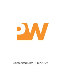 PW Logo. Vector Graphic Branding Letter Element. White Background