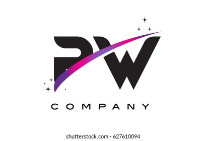 PW P W Black Letter Logo Design with Purple Magenta Swoosh and Stars.