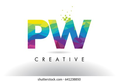 PW P W Colorful Letter Design with Creative Origami Triangles Rainbow Vector.