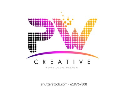 PW P W Dots Letter Logo Design with Magenta Bubble Circles and Swoosh