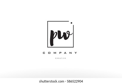 pw p w hand writing written black white alphabet company letter logo square background small lowercase design creative vector icon template